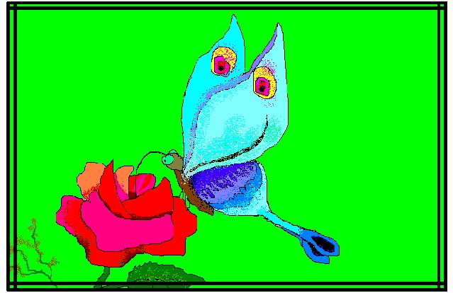 Бабочка на розе.