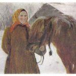 Серов Валентин Александрович В деревне. Баба с лошадью 150x150 - Серов Валентин Александрович