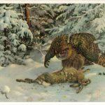 Филин с убитым зайцем 150x150 - Птицы
